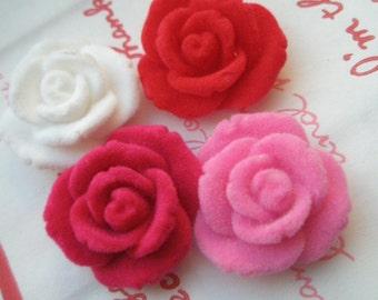 sale RARE Velvet Velour Rose cabochons Set 4pcs 25mm