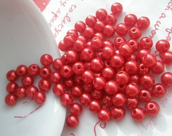 RED Pearlized round BEADS 7mm 50pcs MJ