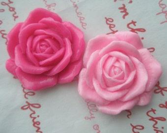 sale HUGE PINK Rose Cabochons Set 2pcs 2 colors 33mm TA-A6