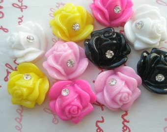 SALE Small ROSE with Rhinestone 10pcs 14mm x 13mm