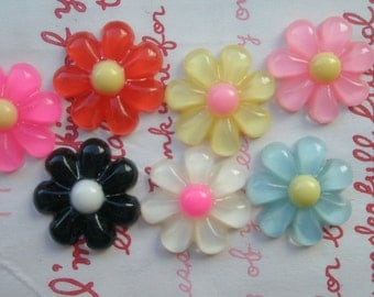 sale Clear puffy round daisy flower cabochons Set 7pcs 7 colors