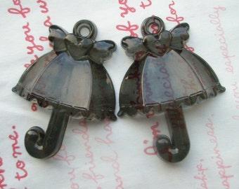 SALE BIG acrylic Umbrella Charms Pendants 2pcs CLEAR Black