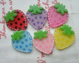 SALE Funky Stitchy Dotted Strawberry cabochons 6pcs