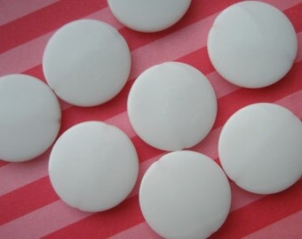 Flat Round Colorful acrylic beads 21mm 8pcs WHITE