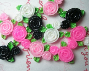 Colorful Plastic Rose cabochons mix  C  12pcs