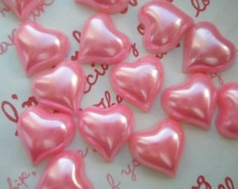 Pink Pearlized Heart Cabochons 15pcs 14mm