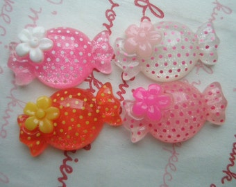 SALE Polka dots Candy with Flower cabochons Set 4pcs CLEAR