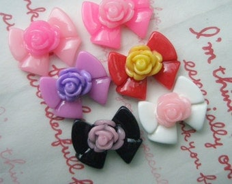 Colorful Bow 6pcs ( Rose on top )