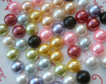 Assorted Pearlized Round cabochons 10mm 50pcs TA