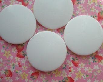 Flat Round Colorful acrylic beads 32mm 4pcs WHITE