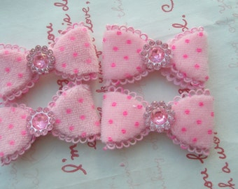 sale Fluffy Polka dots  bow with rhinestone in the middle appliques SET 4pc PINK
