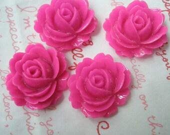 A Dollar SALE Big Rose cabochons MJ-002 Hot pink 4pcs 26mm x 23mm