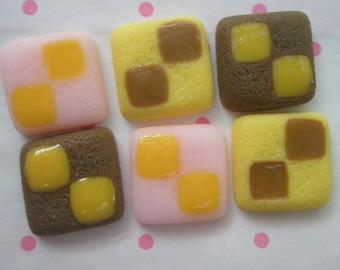SALE Cookie Biscuit cabochons Set E 6pcs