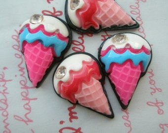 Ice cream cone with rhinestone cabochons  4pcs  2 colors