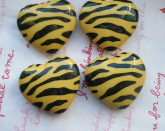 Huge Zebra Print Puffy Heart beads 2pcs Yellow/Black