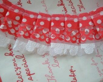 RED Polka dots lace trim 1M  1 meter B