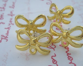 Rare Bow metal painted earring post with loop 2 pairs (4pcs) GOLD PLATED