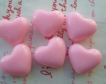 Puffy Heart BEADS 6pcs PH Pink