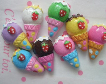 SALE Small  Ice Cream cone cabochons Set 8pcs C