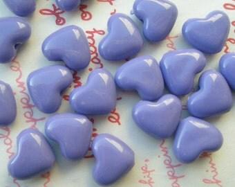 Small Puffy Heart BEADS 20pcs PH  Periwincle Purple Size S