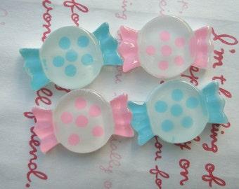 SALE Polka dots Clear Candy cabochons SET 4pcs Pink Blue