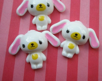 Sweet  WHITE puppy cabochons 3pcs