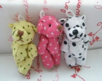 Small Polka dots Teddy Bear dolls 3pcs White Hot pink Yellow