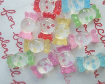 sale Tiny Mini Clear Glitter Polka dots Candy cabochons Set B 12pcs