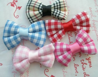 Gingham Plaid bows ribbons 5 colors 5pcs