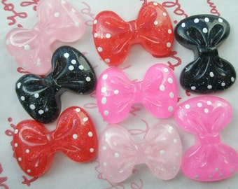 SALE Clear Polka dot Glitter Round bow cabochons 8pcs (4 different colors)