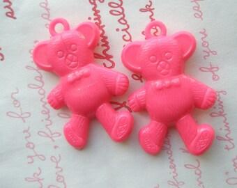 Dollar SALE Plastic Teddy Bear charms 2ps Hot pink