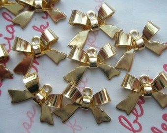 Copper Gold plated Small Butterfly Bow charms 10pcs