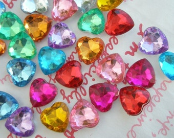 Colorful Chunky Faceted Heart gems 20pcs 10mm S