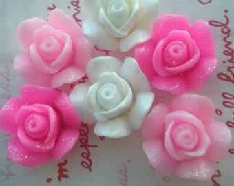 Thick Glitter Rose Cabochons Mix Set 6pcs 3 colors 21mm TG
