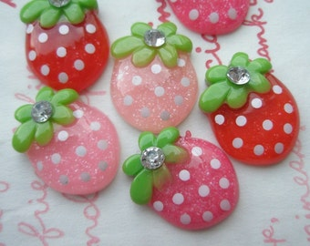 Small strawberry with rhinestone Set 6pcs