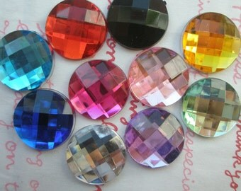 Colorful ROUND Faceted gems cabochons 10pcs 16mm
