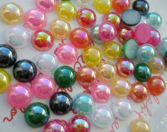 Shiny Pearlized Round Cabochons AB Color Mix 8mm 50pcs