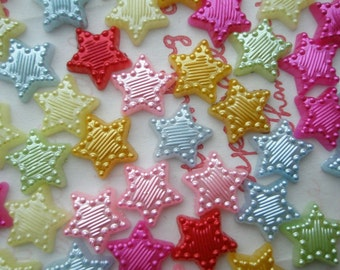 Pearlized Star cabochons MIX  11mm 30pcs