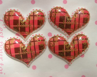 SALE Tartan plaid Heart cabochons 4pcs WHITE