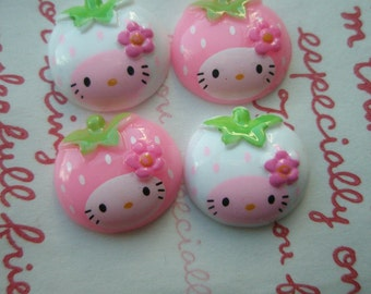 Strawberry Girl cabochons 4pcs