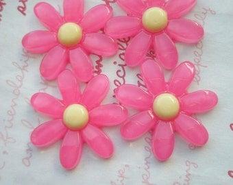 PINK Daisy Flower cabochons 4pcs