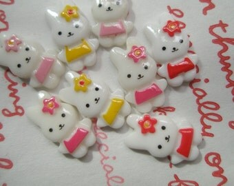 Small white bunny cabochons SET 8pcs