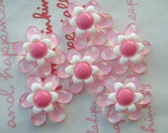 Pink Dotted clear flower cabochons 6pcs