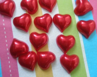 Red Pearlized Heart Cabochons 15pcs 14mm
