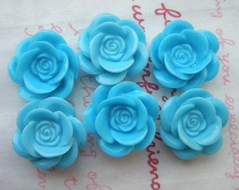 SALE Matte type Pretty rose cabochons 6pcs PD 001 18mm Blue