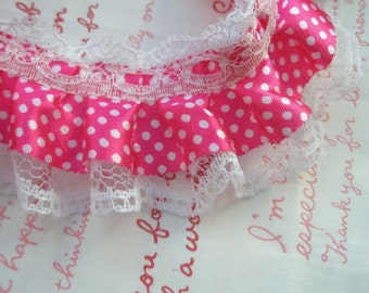 Satin Polka dots Hot Pink Lace trim 1METER