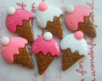 sale Simple Ice cream cone cabochons 6pcs High Quality