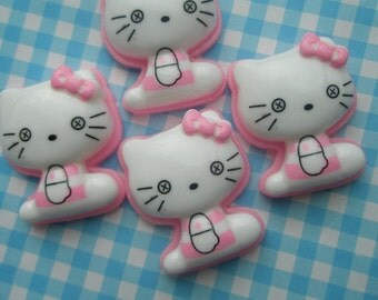 SALE Pink Hello Kitty cabochons 4pcs