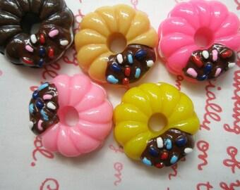 Colorful Chocolate dip Doughnuts cabochons SET 5pcs