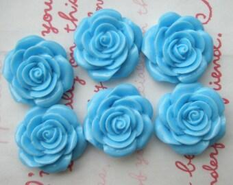 SALE Blue rose cabochons 6pcs MJ 001 22mm